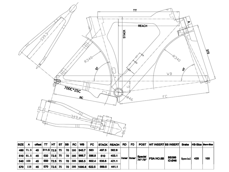 carbon triathlon frameset geometry