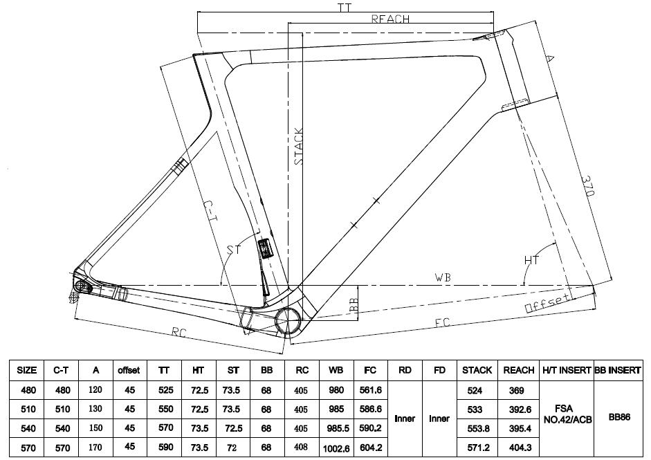 LCR015-D disc road frame geometry
